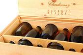 Case of Chardonnay Wine Bottles — Stock Photo