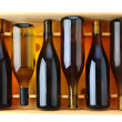 Bottles of Chardonnay Wine in Wood Case - Stock Photo