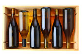 Bottles of Chardonnay Wine in Wood Case — Stok fotoğraf