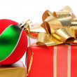 Stock Photo: Closeup christmas presents with ornament