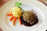Venison with whortleberry sause — Stock Photo
