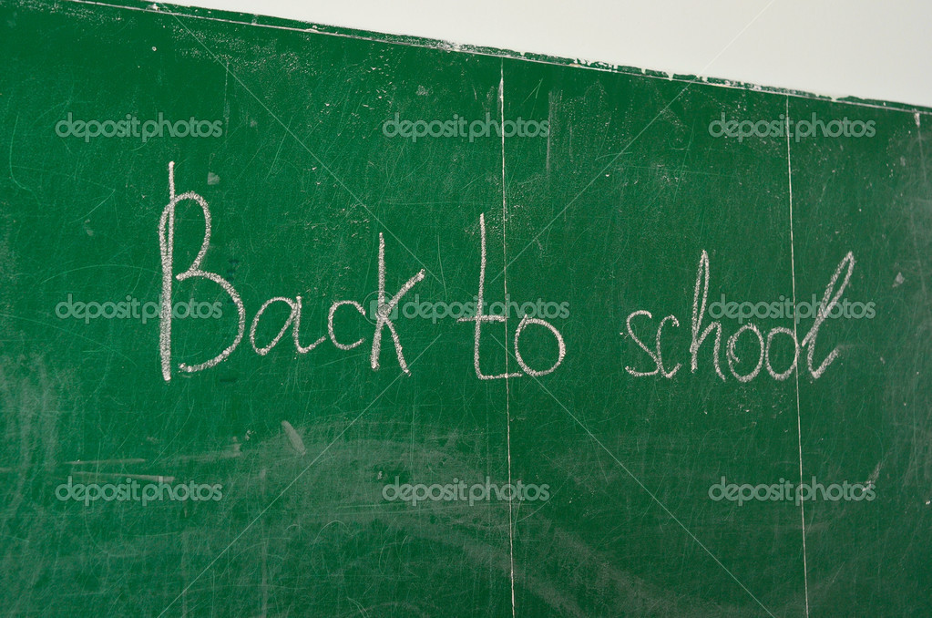 Green chalk blackboard written Back To School with white chalk — Stock Photo #6956241