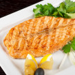 Grilled salmon steak - Foto Stock
