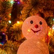 Christmas fur-tree with snowman — Stockfoto
