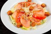 Smoked salmon filet salad — Stock Photo