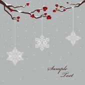 Vinter design med bär och snöflingor — Stockvektor
