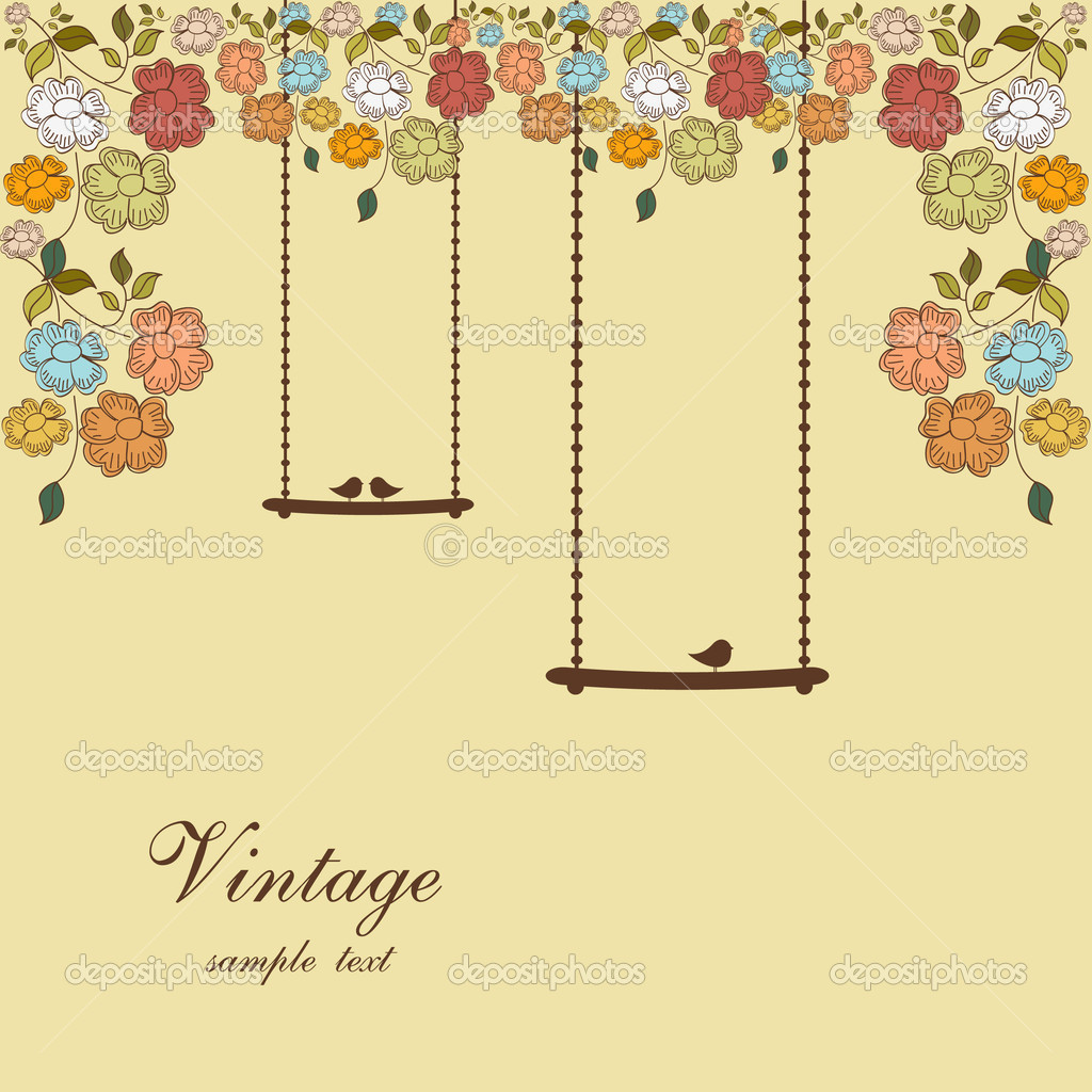 Vector illustration of floral background with swings and birds — Stock Vector #6840094