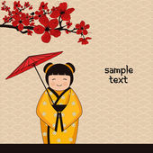 Japanese style background with japanese girl — Stock Vector