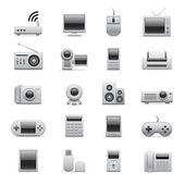 Silver electronic icons — Stock Vector