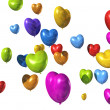 Colored heart shaped balloons isolated on white — Stock fotografie