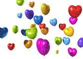 Coração colorida em forma de balões isolados no branco — Foto Stock