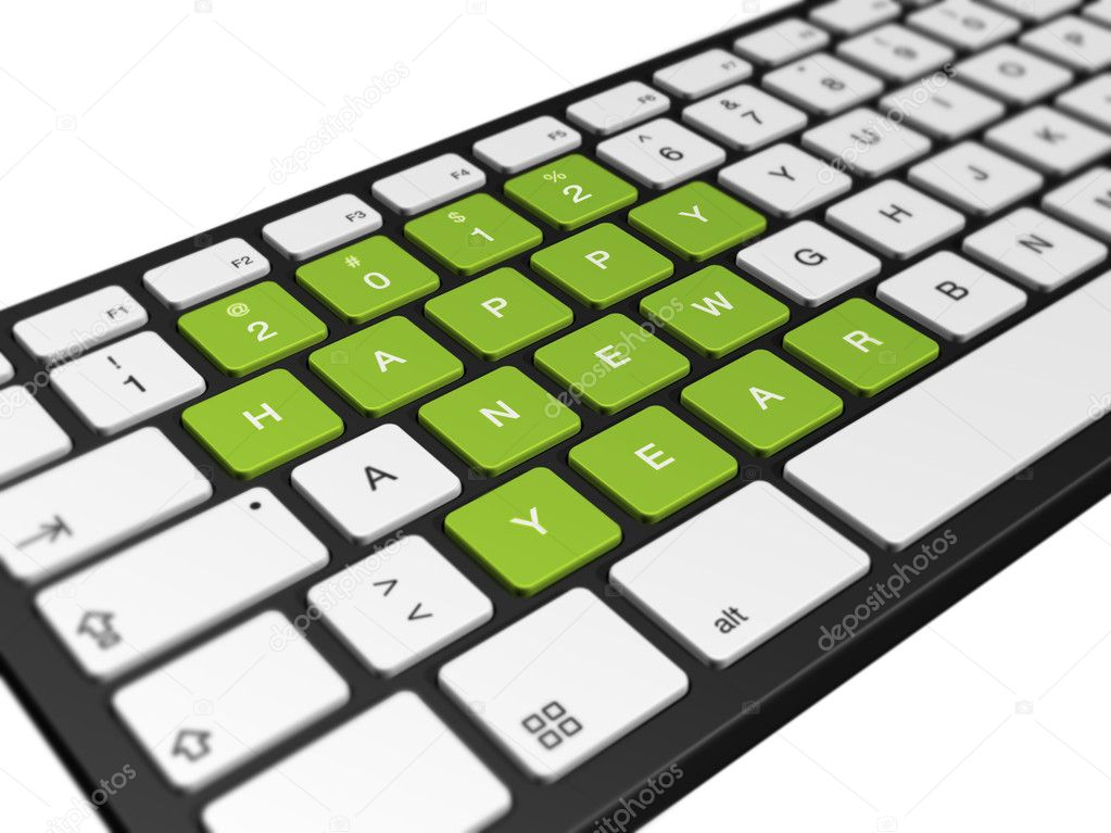New year 2012 message on a computer keyboard, 3d illustration isolated on white  Stock Photo #7601994