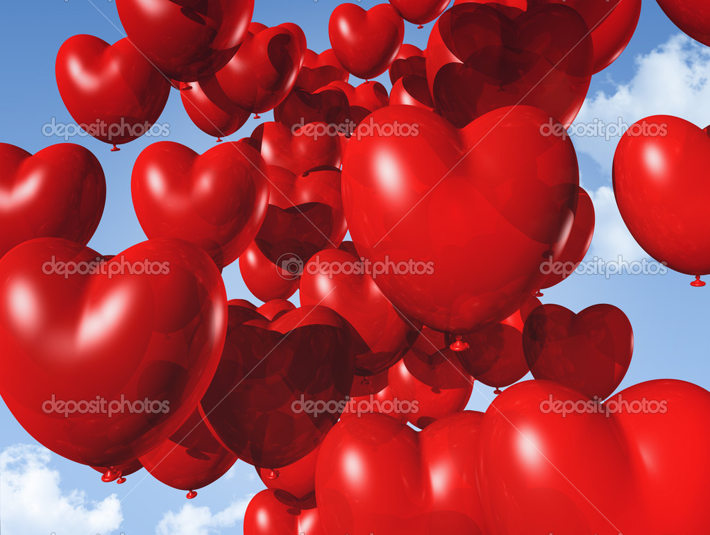 Red heart shaped balloons floating in the sky - red heart shaped balloons floating in the sky. valentine's day symbol — Stok fotoğraf #7602409
