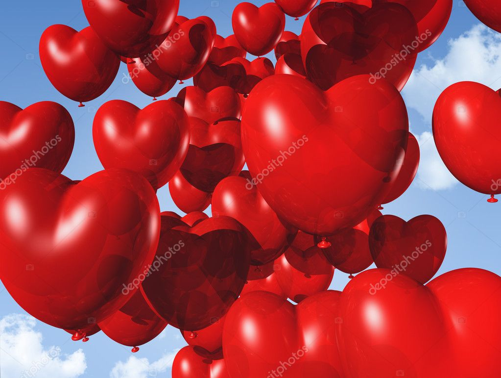 Red heart shaped balloons floating in the sky - red heart shaped balloons floating in the sky. valentine's day symbol  Foto Stock #7602409