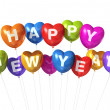 Colored happy new year heart shaped balloons — Stock Photo