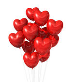 Red heart shaped balloons isolated on white — Stock Photo