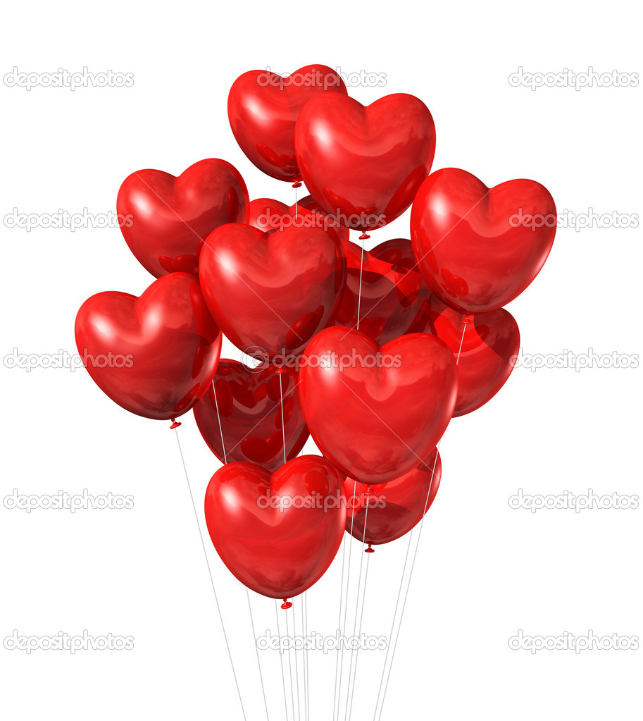 Red heart shaped balloons isolated on white. valentine's day symbol — Stock Photo #7819413