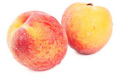 Two peaches on white — Stock Photo