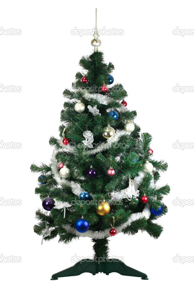 Christmas Tree and decorations. Over white background — Stock Photo #6915216
