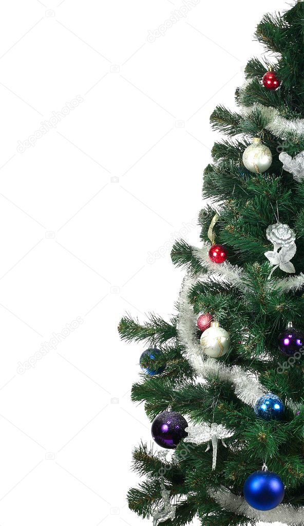 Christmas Tree and decorations. Over white background  Stock Photo #7392415