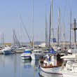 Sailing boats moored in Maryna Bay Harbour, Larnaca, Cyprus - Stock Photo