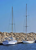 Sailing boats moored in Maryna Bay Harbour, Larnaca, Cyprus — Stock Photo