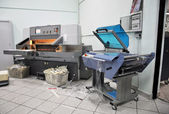 Print shop (press printing) - Finishing line — Stok fotoğraf