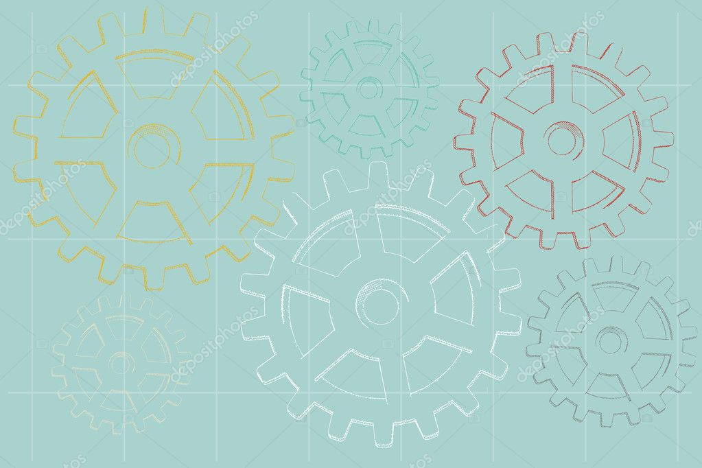 Grungy sketched faded vector illustration of gear outlines on pale blue — Stock Vector #7359687