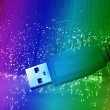 USB plugs closeup with fiber optical background — 图库照片
