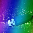 USB plugs closeup with fiber optical background — Stock Photo