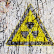 Royalty-Free Stock Photo: Radioactivity symbol on abstract rough grunge brick wall background