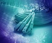 Волоконно-оптическая сеть кабель — Стоковое фото