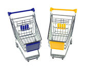 Gift box with shopping carts over white background — Stock Photo