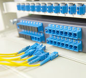 Shot of network cables and servers in a technology data center — Stockfoto