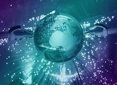 World map technology style against fiber optic background — Stock Photo