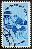 Postage stamp USA 1960 Man in wheelchair — Stock Photo