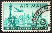 Postage stamp USA 1947 Plane over Statue of Liberty and New York — Stock Photo