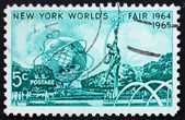 Postage stamp USA 1964 Mall with Unisphere and rocket thrower — Stock Photo