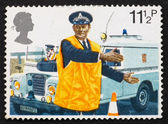 Postage stamp GB 1979 Police constable directing traffic — Stock Photo