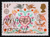 Postage stamp GB 1981 Lovebirds, Angels and Heart — Stock Photo