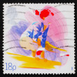 Postage stamp GB 1988 Woman on Balance Beam - Stock Photo