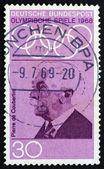 Postage stamp Germany 1968 Pierre de Coubertin — Stock Photo