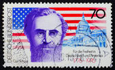 Postage stamp Germany 1976 Carl Schurz, American Flag and Capito — Stock Photo