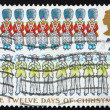 Stock Photo: Postage stamp GB 1977 Nine Drummers Drumming and Ten Pipers Pipi