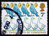 Postage stamp GB 1977 Four Colly Birds, Five Gold Rings, six Gee — Stock Photo