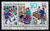 Postage stamp Germany 1980 Wine production — Stock Photo