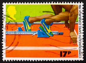 Postage stamp GB 1986 Sprinter in the Starting Block — Stock Photo