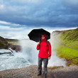 Tourist in Iceland — Stock Photo
