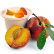 Yoghurt with peach — Stock Photo