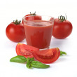 Stock Photo: Glass of tomato juice and fruits